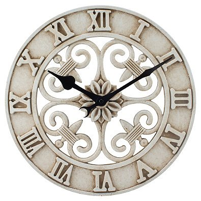 La Crosse Technology 14-Inch Cast Iron Indoor/Outdoor Round Wall Clock in Antique White