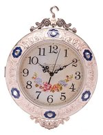 SonYo Indoor/Outdoor Antiquity European Style Double-Sided Royal Wall Hanging Clock with Rose design Home Decor Included Hanger 14 Inch Blue