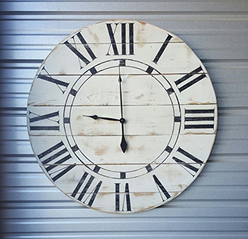 "18in ""Riley"" reclaimed wood wall clock, fixer upper style clock, farmhouse wall clock, oversized wall clock, rustic clock, shabby chic clock, distressed clock"