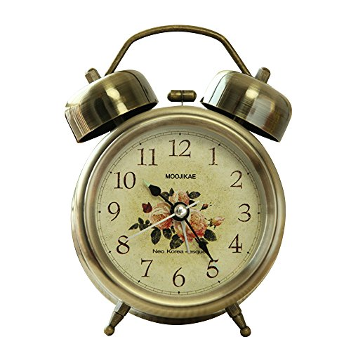 Kaimao Vintage Style Snooze Alarm Clock 3″ (8cm) Silent Antique Retro Twin Bells Table Clock with Night Light, Luminous Hands and Extremly Loud Bell – L