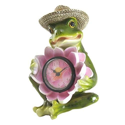 Frog Toad in Straw Hat with Lily Lotus Flower Figure Statue Desk Table Shelf Clock, 8″