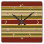Burgundy Green Ivory Ochre Yellow Stripes Pattern Square Wall Clock