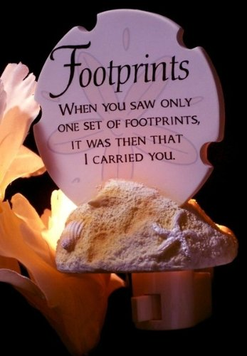 Americanoutfitter Footprints Poem Night Light – Perfect Gift For Men Women Couples Grandpa Father Mother Engagement Wedding Anniversary Christmas Birthday Him Her Sister Wife Husband