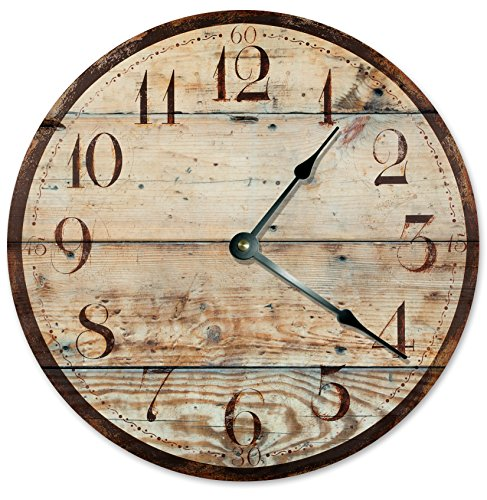 RUSTIC WOOD CLOCK Large 10.5″ Wall Clock Decorative Round Novelty Clock PRINTED WOOD IMAGE Beach Wood Clock
