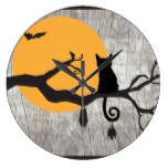 Full Moon Cat Bat Tree Halloween Clock