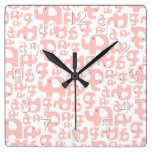 Pink Elephant Country Rustic Baby Infant Gift Square Wall Clock