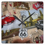 Route 66 Pattern Square Wall Clock