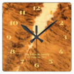 Rustic Texas Long Horn Leather Print Housewarming Square Wall Clock
