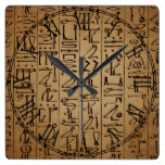 Vintage Egyptian Hieroglyphics Paper Print Square Wall Clock