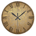 Vintage Gold Egyptian Hieroglyphics Paper Print Large Clock
