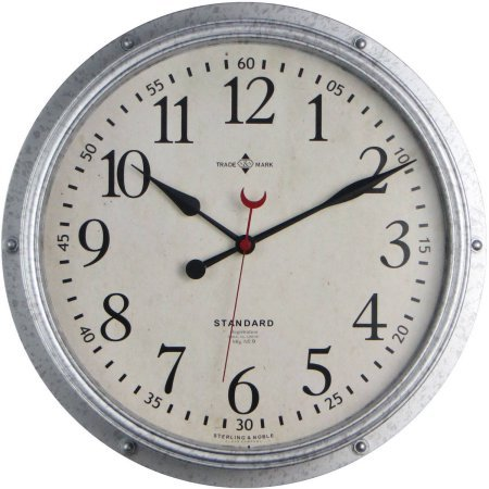 Better Homes and Gardens Galvanized Wall Clock 15.5″ Diameter