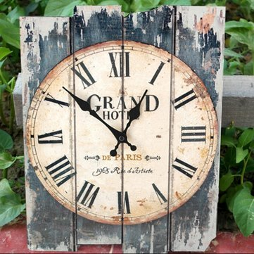 Antique Art Wall Clock Wood Vintage Clock Retro Rustic Home Office Cafe Bar Decor^.