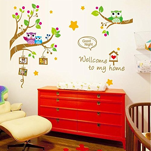 Wall Decals Good Night Photo Frame- Easy Peel & Stick Wall Art Decor – Baby/ Kids Nursery Room Decorative Stickers