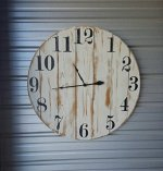 "18in ""Shannon"" reclaimed wood wall clock, fixer upper style clock, farmhouse wall clock with distressed white finish and black roman numerals."
