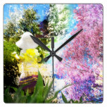 Country Girl Collage Pink Flower Cottage Style Square Wall Clock