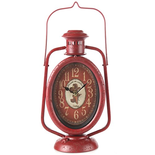 Lily's Home Rustic Country Cowboy Lantern Mantle Clock, Red