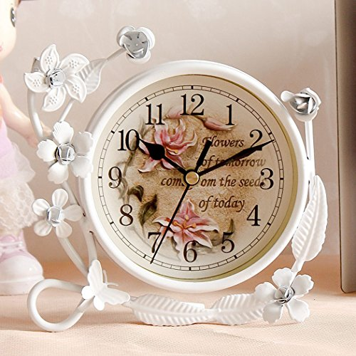 Sweet Home White Flower Rustic Iron Mantel Digital Table Clock Living Room Bedroom Silent Desktop Clock Art Home Decor by Sweet Home