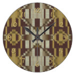 Khaki Beige Brown Ochre Yellow Mosaic Pattern Large Clock