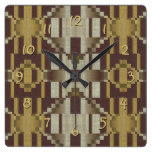 Khaki Beige Brown Ochre Yellow Mosaic Pattern Square Wall Clock