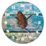 OLD WOOD & MOUSE by Slipperywindow Large Clock