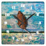 OLD WOOD & MOUSE by Slipperywindow Square Wall Clock
