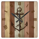 Rustic Earth Tone Wood Nautical Stripes & Anchor Square Wall Clock
