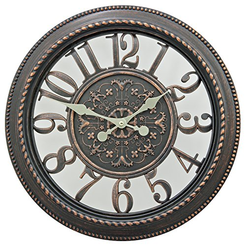 16″ Gallery Style Antique Motif Rustic Wall Clocks Dark Vintage Brown Frame