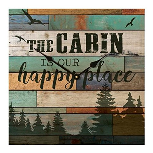P Graham Dunn Lake House Cabin is our Happy Place Wood Wall Clock