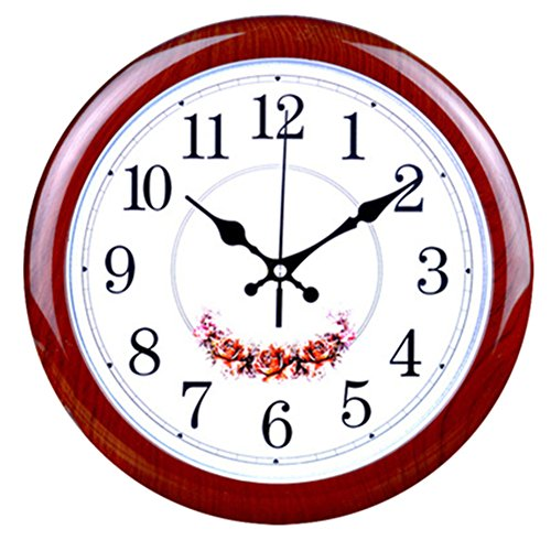 Foxtop 12-Inch Silent Large Wall Clock Decorative Living Room Clock – Battery Operated Quartz Movement Wall Clock Wood-look Frame – Round Floral White Dial Wall Clocks