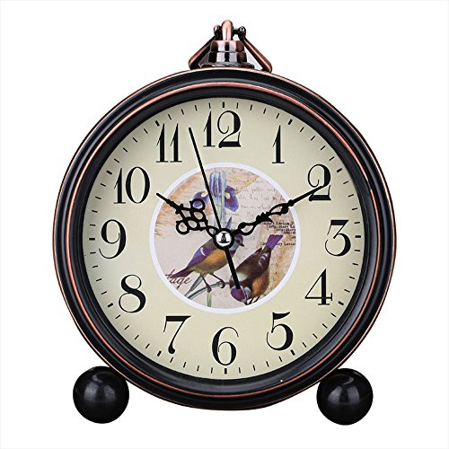Kaimao Vintage Style Alarm Clock 5″ (13cm) Silent Antique Retro Table Clock with Hanging Loop – Birds