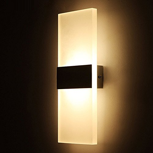 Geekercity Modern Acrylic 6W LED Bedroom Wall Lamps Fixture On/Off Decorative Lamps Night Light for Pathway Staircase Bedroom Balcony Drive Way Living Room Bathroom