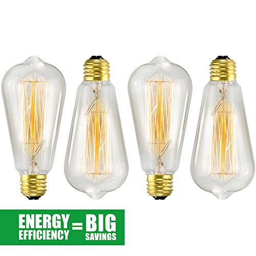 Edison Bulb 4 Pack – ST64 – Squirrel Cage Filament – Dimmable, Edison Style Vintage Light Bulbs