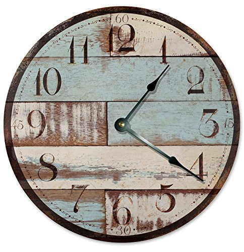BLUE RUSTIC WOOD CLOCK Large 10.5″ Wall Clock Decorative Round Novelty Clock PRINTED WOOD IMAGE Beach Wood Clock