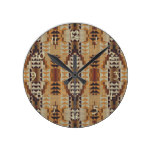 Khaki Beige Taupe Brown Eclectic Ethnic Look Round Clock