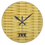 Monogram Series: Light Rustic Seagrass Basketweave Large Clock