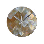 Mother of Pearl Capiz Weave Round Clock