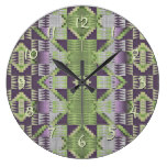 Purple Volet Pink Lime Green Eclectic Ethnic Look Large Clock
