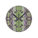Purple Volet Pink Lime Green Eclectic Ethnic Look Round Clock