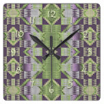 Purple Volet Pink Lime Green Eclectic Ethnic Look Square Wall Clock