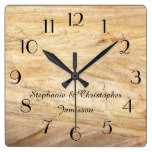 Rustic Light Brown Faux Stone Clock Personalized