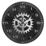 Rustic Metallic Looking Gears Wall Clock