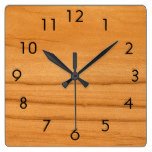 The Look of Caramel Birch Wood Grain Texture Square Wall Clock