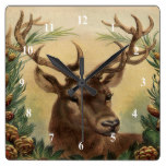 Vintage Deer Buck Stag Winter Holidays Rustic Square Wall Clock