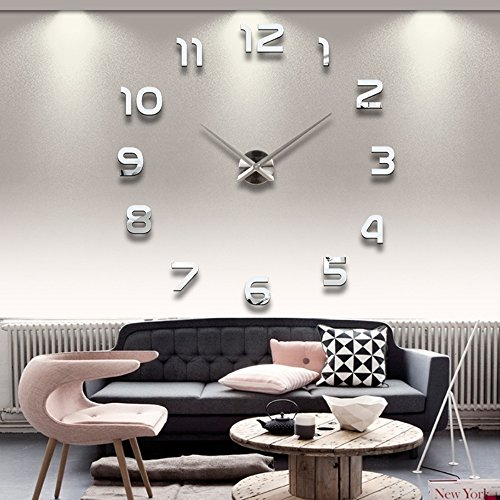 Large Mirrored Wall Clocks Home Decor – Silver