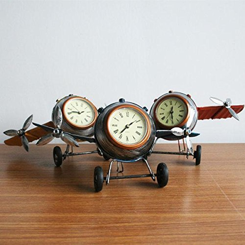 Dalakin Retro Shabby Metal Clock Airplane Plane Home Desk Table Clock Ornament 3 ColourYellow
