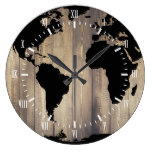 Black World Map Wooden Planks White Numerals Large Clock