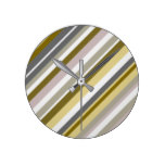 """""""Earthy"""", Rustic Stripes Pattern Round Clock"""