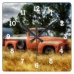 Route 66 Vintage Pick Up Truck Watercolor Square Wall Clock