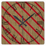 Rustic Burlap Candy Cane Square Wall Clock