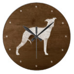 Whippet Silhouette Large Clock
